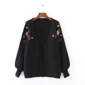 OLGITUM 2018 Autunno / Inverno cardigan maglione donne lanterna manica maglione ricamo floreale cardigan lavorato a maglia per la femmina