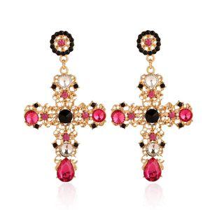 Vintage Boho Crystal Cross Drop Boucles d'oreilles pour femmes Baroque Bohemian Grand long long strass bijoux Brincos Wholesale Dangle lustre