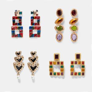 Mejor vendimia dama gota cuelga los pendientes para las mujeres del banquete de boda de moda del metal de Bohemia joyas regalos de Navidad multicolores