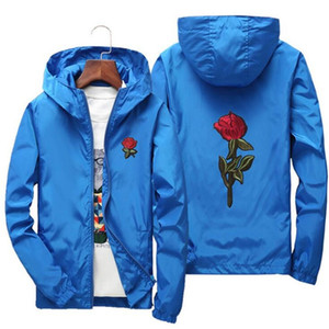 Men Unisex college jackets Europe Russia spring autumn trend cute students rose print embroidery orange red zipper hooded windbreaker coats