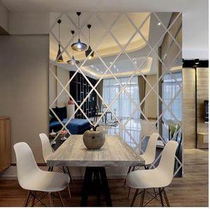 3d pegatinas espejo pared de la sala de decoración del hogar moderno modelo del diamante etiquetas de la pared de bricolaje que viven etiqueta engomada decorativa acrílica