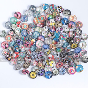 Wholesale-100 Pcs lot Beautiful Flower Animal Snap Button 18MM Round Glass Ginger Snaps Jewelry Flower Snap Charm Fit Snap Bracelet