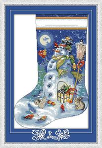 Friedlicher Schneemann mit Hausdekorgemälden der Tiere, handgemachte Kreuzstich-Stickerei-Näharbeit zählte Druck auf Segeltuch DMC 14CT / 11CT