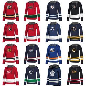 Lady Hoodies Jersey Calgary Flames Minnesota Wild Vancouver Canucks Toronto Maple Leafs Winnipeg Jets Personalizzato Qualsiasi nome Numero Maglie da hockey
