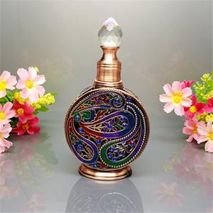 Contagocce di profumo, mini bottiglia di profumo riutilizzabile vintage vuota, bottiglia di profumo in metallo e vetro smaltato in stile egiziano antico
