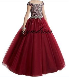 Funkelnde Mädchen-Festzug-Kleider 2019 Ballkleider Einzigartige Designer-Burgunder-Kind-Glanz-Blumen-Mädchen-Kleider für Hochzeits-Größe 4 6 8 10