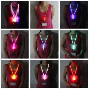 Luminous LED Lanyard Novelty Lighting LED Optical Fiber Luminous Lanyard Work Card Hanging Rope Light Smile Face LED Lanyard + Card