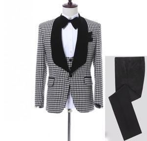 Personalizza Smoking pied-de-poule scialli con pied-poo bavero uomo con bottoni laterali ventilati uomini abito da cerimonia da ballo Prom Dress (giacca + pantaloni + cravatta + gilet)