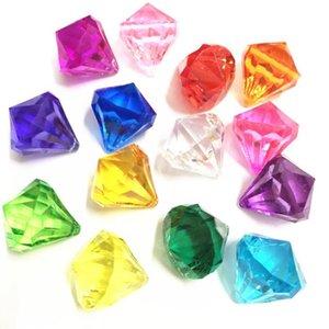 새로운 다채로운 가짜 다이아몬드 보석 보물 상자 해적 아크릴 크리스탈 보석 꽃병 필러 아이 생일 파티 부탁 선물
