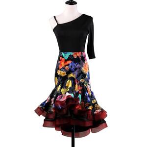 Latin Salsa Dance Dress Donna Tango Dress Modern Dance Costumes D373 Stampa Bell Hem 1 Shoulder 1/2 Sleeve