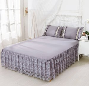 غطاء السرير الرمادي للتنورة 1 / 3pcs Color bedding Bed sheet Princess Bedspread cover Double Queen King Size