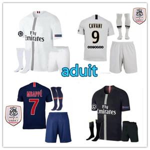 kit per adulti 18/19 PSG jersey di Champions League di calcio Paris Mbappe nero 2018 2019 maillot de foot CAVANI pre-partita degli uomini set maglie da calcio