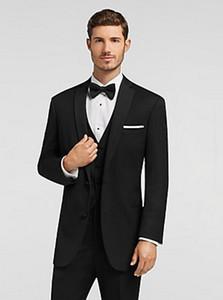 Hohe Qualität Zwei Button Schwarz Bräutigam Smoking Kerbe Revers Groomsmen Best Man Anzüge Herren Hochzeit Anzüge (Jacke + Pants + Weste + Tie) NR .: 1118