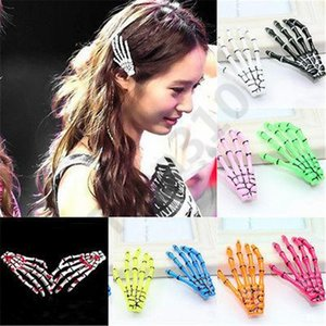 Halloween hairpin Skeleton Claw Bone Hand Hair Clip Pin Grip Slide Head Accessories Zombie Punk Horror hairwear grils 120pcs T1I1008