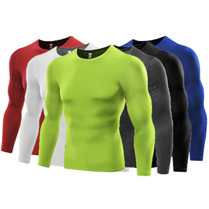 Running shirts dry fit mens gym clothing scoop neck long sleeves quick dry underwear body building suit polyester apparel B5021