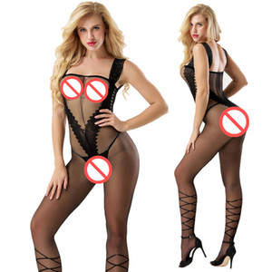 Sexy Costumes Body Suit Body Stockings Sex Erotic Open Crotch+Open Cup Teddy Lingerie Crotchless Baby Doll Feminino Porn V-Neck