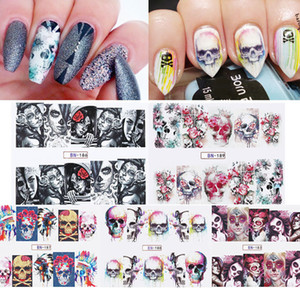 Nail Art Sticker Water Decals Transfer Stickers Halloween Skulls 5 Sheet