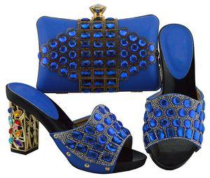 Popular azul royal mulheres bombas e saco com grandes sapatos de cristal africano jogo bolsa combinada para o vestido FGT003, calcanhar 10 CM