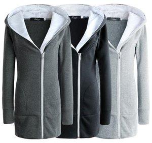 Sıcak satmak katı renk İnce kapşonlu ceket ceket sonbahar ve kış kadın pamuk uzun bölüm soğuk kalın sıcak ceket kazak kadın giyim