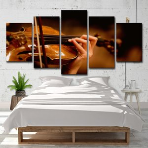 Canvas Pictures Home Decor Wall Art 5 Pieces Violin Paintings For Living Room HD Prints Musical Instruments Posters