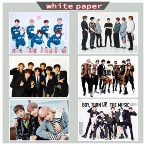 New Bangtan Boys BTS Poster da parete per Camera delle bambole Decorazioni da soggiorno Adesivo da parete bianco Carta patinata Immagini Home Decor