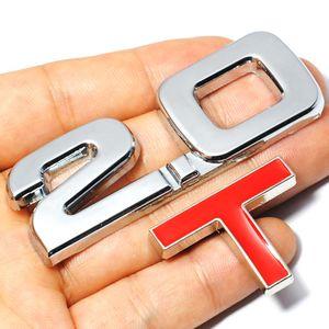 HOT Car 3D Metal 2.0 3.0 2.0T 3.0T T Logo Pegatina Emblema Insignia Calcomanías para Mazda KIA Renault TOYOTA BMW Ford Focus Car Styling