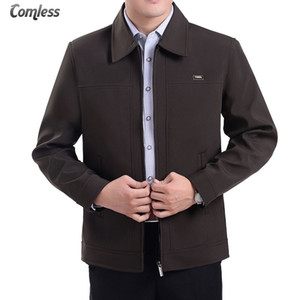 2017 New Autumn Men's Jackets Turn-down Collar Overcoat Middle-aged Man Casual Zipper Coats Male Outerwear Jacket Plus Size 4XL