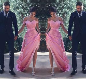 2018 섹시한 핑크 오프 숄더 라인 하의 신부 들러리 드레스 레이스 아플리케 장식 새시 롱 웨딩 게스트 드레스 싸구려 명예의 플러스 사이즈 Vestidos