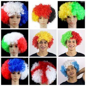 2020 WM-Nationalmannschaft Frankreich Argentinien Italien Deutsch UK Perücke Fan Party Supplies Explosion Headset Karneval Urlaub Haar-Accessoires