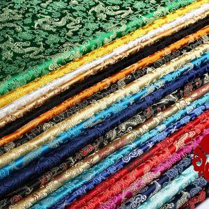 Traje antigua clase gruesa de China Tang Han ropa de bebé kimono Cos brocado de seda de raso Dragón damasco Tela Ancho 75cm