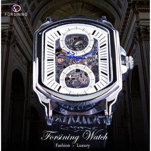 Forsining Retro Classic White Dial Blue Hands Openwork Skeleton Automático Reloj de pulsera Relojes mecánicos de los hombres de primeras marcas de lujo