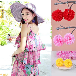Bohemia Flower Drop Earrings Handmade Beach Charm Earrrings for Women Different Color Fashion Lady Jewerly Wholesale 0896WH