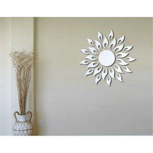 도매 럭셔리 실버 3D 태양 꽃 홈 장식 멋진 벽 스티커 뉴 2016을 미러