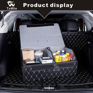 Автомобильный багажник Складной багажник Автомобильный органайзер для хранения ПУ кожа высокой емкости Укладка уборка аксессуары для интерьера / 3 ящика для хранения.