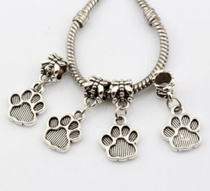 100pcs / lot Silber überzogenes Paw print Charmspendant baumeln Perlen für Armband DIY Schmuckzubehör 12x26mm machen