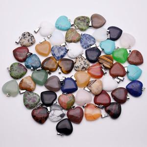 Ciondoli collana cuore di pietra naturale per gioielli all'ingrosso 20mm che fanno amuleti misti assortiti regalo di Natale di buona qualità 50 pz / lotto