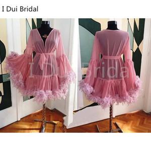 Manica lunga corta piuma abito da sposa sexy da sposa sciarpa fotografia vestito maternità tiro piuma compleanno festa regalo