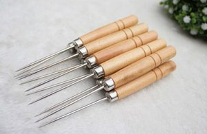 Wooden handle awl \ one thousand pass \ positioning drill office awl drill, DIY tools. Cowhide Leather Tool
