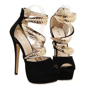 I sandali del progettista delle donne di lusso di modo il nero con oro hanno abbellito per i talloni degli alti talloni di sera di promenade del partito delle donne 14CM Trasporto libero