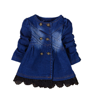 BibiCola baby girls spring autumn christmas denim jacket baby fashion girls cowboy lace jackets coats children outerwear coat