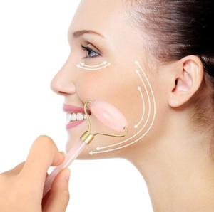 Rolo De Massagem Dupla Cabeça Natural Rose Cristal De Quartzo De Jade Pedra Anti Rugas Facial Anti-Celulite Facial Saúde Ferramenta de Saúde Rosa Frete Grátis