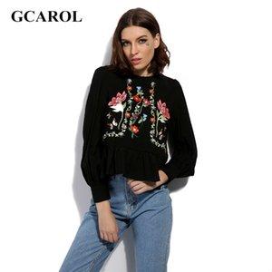 GCAROL 2017 ricamo floreale delle donne increspature sottile camicetta camicia di alta qualità moda vintage magliette retrò per le signore