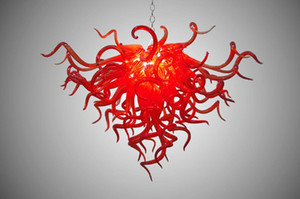 Modern Curly Red Blown Glass Chandelier Crystal Luces colgantes contemporáneas Hand Blown Murano Glass Chandelier