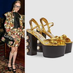 Schwarz Rot Sommer Sandalen 2018 Frauen Thick High Heel Sandale Mit Perlen Schuhe Platfrom Sandalen Für Damen Party Hochzeit Sexy Pumps Size42
