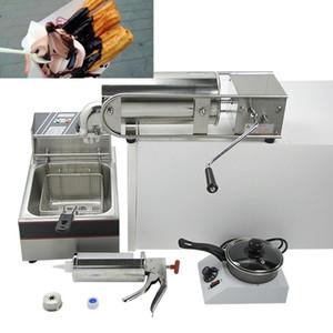 Um Conjunto de 4 peças Manual 5L Espanhol Churros Fabricantes Elétrica Churro Fryer Churros Máquinas De Enchimento De Chocolate melter