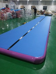 Envío gratuito 10x2x0.2m aire inflable pista cubierta de gimnasio por aire inflable Gimnasio Mat inflable Secadora Pista libre Una bomba