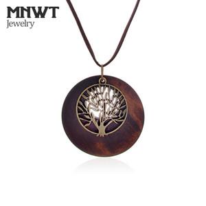 MNWT New Life Tree Girocollo Donna Collane Ciondolo in legno Collana lunga da donna collares mujer colar Gioielli da donna eleganti Regali