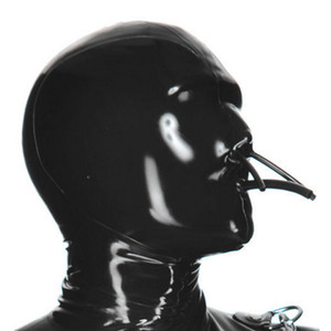 100% Puro Capuz De Látex com Tubo De Boca Fixa e Tubo de Nariz Collocation Latex Catsuits Máscara De Fetish De Borracha Cosplay Partido Handmade desgaste