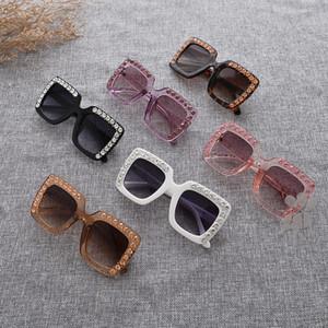 Mode-Kindersonnenbrille-kühler Baby-übergroßer Designer-Mehrfarbengradienten-Linse Eyewear Cutie Mädchen-Diamant Sonnenbrille FML