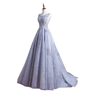 Silver Grey Long Lace Formal Evening Dress Scoop Neck Backless robe de soiree Applique Beads Prom Graduation Gowns Special Occasion Dresses